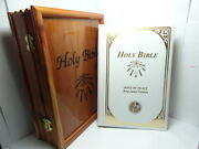 Dove Of Peace Kjv Holy Bible White Leather Gold Embossed In Wooden Box