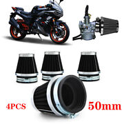 4pcs 50mm Motorcycle Pod Air Filters Cleaner Cold Engine Intake For Honda Suzuki