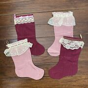 Vintage Pink Christmas Holiday Stockings Trimmed With Lace Victorian
