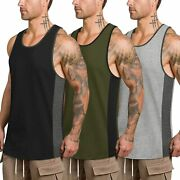 Coofandy Mens Workout Tank Tops 3 Pack Quick Dry Gym Muscle Tee Fitness Bodybuil