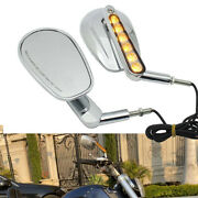 Motorcycle Led Turn Signal Rearview Mirrors For Harley Sportster Bobber Chopper