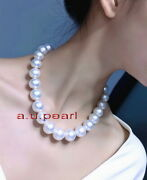 Long Aaaaa Natural Round 1915-12mm Real South Sea White Pearl Necklace 14k Gold