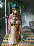 Vtg Empire Blowmold Wise Man King Standing Lighted Nativity Christmas Decoration