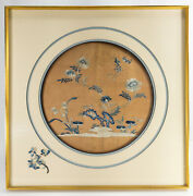 Antiqued Framed Chinese Silk Embroidered Robe Panel Floral Bats Wufu Orange