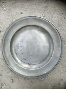Antique Pewter Charger Rare English London Touchmarks 14 Inch