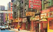 Pell Street Chinatown Shops Signs Cars People Nyc Ny Vintage Chrome P193