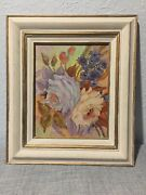 Roses Painting On Canvas Framed Lavender Purple Peach Flowers