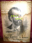 Rare 19th Century Broadway Lithograph My Partner Louis Aldrich 1800s Ad Poster