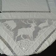 Antique Victorian Cotton Stags Reindeers Signed Bedspread Or Tablecloth