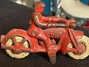 Antique 1930and039s Hubley Cast Iron Red Toy Cop Motorcycle With 2 Headlights