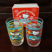 2 Hello Kitty And Dolphin Vintage Sanrio 1976, 2000 Drinking Glasses 4 Box