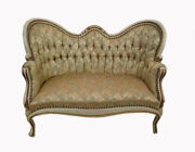Vintage French Provincial Louis Xvi Style Gold Tufted Settee Loveseat