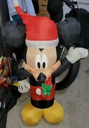 Gemmy Disney 3.5and039 Mickey Mouse Airblown Inflatable Santa Hat Scarf Tested