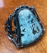 Fabulous Huge Old Vintage Navajo Turquoise And Silver Bracelet Weighs 136 Grams