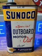 Vintage Sunoco Special Outboard Motor Oil 1 Quart Can Advertising