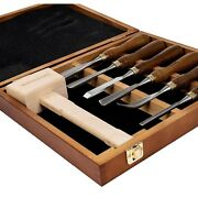 Chisel Set Wood Vintage Lot Woodworking Tools Carving With Wooden Case Hammer