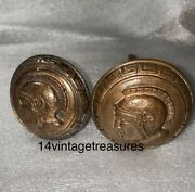 Antique Pair Of Door Knobs With Greek Revival Border And Roman Warrior Profile