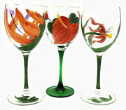 Set Of 10 France Hand Painted And Signed Crystal Wine Glasses