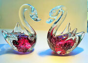 Pair Vintage Murano Bullicante Art Glass Red Swans With Gold Dust