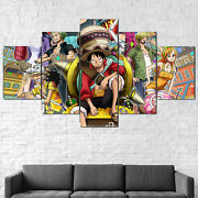 One Piece Characters Anime Luffy Canvas Print 5 Pcs Wall Art Poster Decor