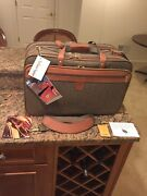 Hartmann Vintage Walnut Tweed Leather Garment Bag Carry On 3 Compartment Nos