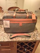 Hartmann Walnut Tweed Leather Garment Bag Carry On Triple Compartment Nos