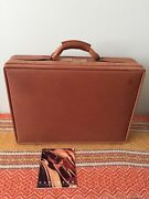 Hartmann Belting Leather 5 Deluxe Attache W/ Work Panel And Fan File Made In Usa