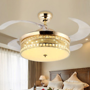 42 Retractable Ceiling Airflow Fan Light 3 Speed Chandelier Led Lamp + Remote