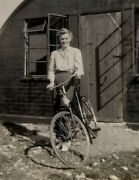 Original Ww2 Army Air Force Base Woman Bicycle Examiner Passed Stamp Vtg Photo