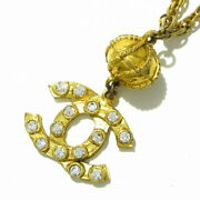 Necklace Metal Material Rhinestone Gold Clear Coco Mark