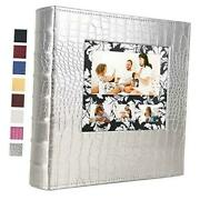 600 Photo Album Holds 4x6 Photos Large Capacity Picture Albums Leather Silver