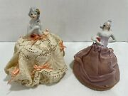Lot Of Two Antique Porcelain Half Doll Pin Cushion Dolls