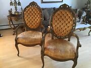 Pair Vintage French Provincial Louis Xvi Rococo Tufted Chairs