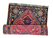 Bright Red Authentic Tribal Hand-knotted Wool Geometric Area Rug Qassh Qai 4x6