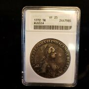 1772 Russia 1 Rubel Anacs Certified Vf-25 Very Rare Rhs-015