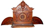Antique French Victorian Hand-carved Walnut Mantel Clock Dufaud Circa 1880s