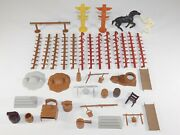 Lot Vtg Marx Fort Apache Play Set Accessories Parts Horse Us Calvary Figures Toy