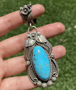 Native American Sterling Silver Turquoise Pendant. Charlene Yazzie