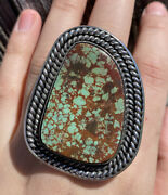 Native American Sterling Silver Green Royston Turquoise Adjustable Ring. Cy