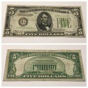 Vintage 5 1934 Federal Reserve Note Bill Five Dollars Chicago G Green Seal