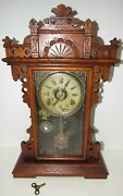 Antique E.n. Welch Walnut Kitchen Clock With Alarm 8-day, Time/gong Strike