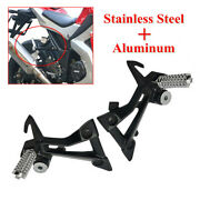 2x Left+right Motorcycle Foot Pegs Rest Pedal Pads Foot Bracket Stainless Steel