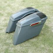 4 Gray Stretched Saddlebags W/ Speaker Grill Fit For Harley Street Glide 14-up