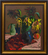 Original 2011 Still Life With Flowers Canvas Oil Painting Signed 70x60 Cm