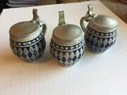 3 Vintage Gerz Gerzit Miniature Beer Steins With Pewter Lids - From Germany