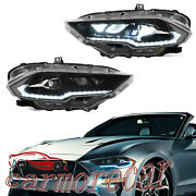 Full Led Dynamic Drl Headlights Amber Side Reflector For Ford Mustang 2018-2021