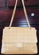 Vintage Beige Flap Bag With Gold Chain And Dustcover