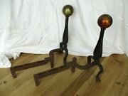 Large Vintage Cast Iron Andirons Round Ball Brass Color 18 Adams Right And Left