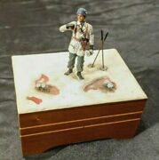 Rare Vtg Wwii Reuge Winter German Soldier Wooden Music Box W/ Swiss Movement