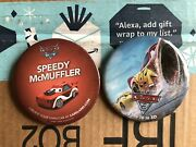 2 Carsland Buttons Package From Disney Pixar,frm The Movie Cars Great Condition